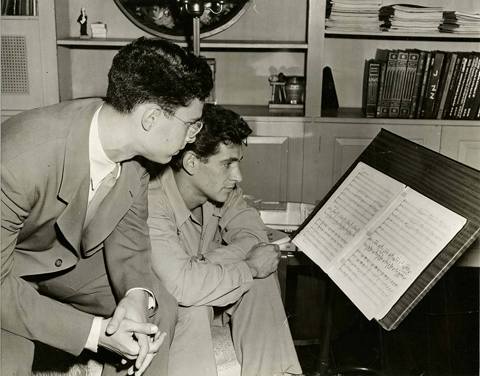 Leon Fleisher and Leonard Bernstein in 1945, before their first performance together at the Ravinia Festival in Highland Park, Illinois. (The Arthur Friedheim Library at the Peabody Institute of the Johns Hopkins University.)