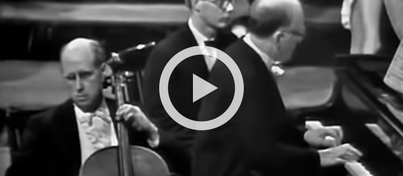 Cellist Mstislav Rostropovich and pianist Sviatoslav Richter perform Beethoven's Final movement from Cello Sonata No. 4 in C major, Op. 102, No. 1